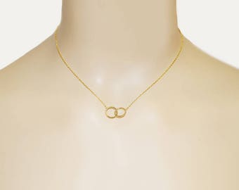 Gold Infinity Necklace - Gold Circle Necklace - Mother Daughter Infinity Necklace - Gold Necklace - Dainty Gold Necklace