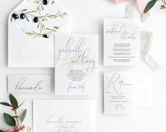 Watercolor Olive Branch Wedding Invitation Suite Calligraphy