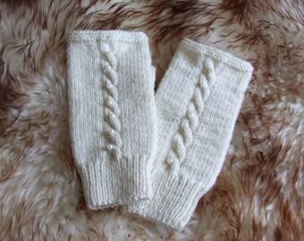 White Hand knit gloves, Knit fingerless glove mittens, wool gloves, Knit arm warmers, Knit wrist warmers, Wool knit fingerless glove