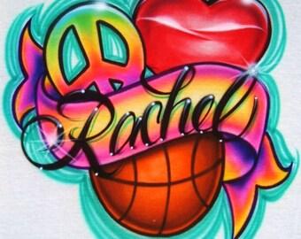 Airbrush T Shirt Peace Love Basketball or ANY Sport Ball, Airbrush Sports Ball Shirt, Airbrush Basketball Shirt, Peace Love Basketball