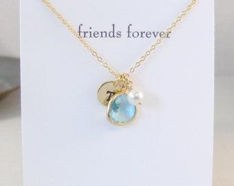FRiends Forever,FRiendship Necklace,Friends,Friendship,Gold Aquamarine Necklace,Aquamarine,Initial Necklace,Aquamarine Necklace,Monogram