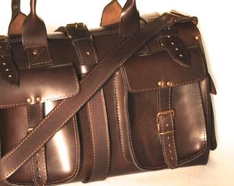 Small leather duffle bag / Travel bag / Weekender / Sac voyage / Women/Men leather dark brown duffle bag