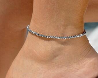 Metallic Anklet | Elastic Anklet |  Minimalist Anklet | Ankle Bracelet | Foot Jewelry | Beaded Anklet | Stacking Anklet | Dainty Anklet