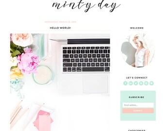 "Blogger Template Mobile Responsive - Instant Digital Download - Premade Complete Blog Design -""Minty Day"""