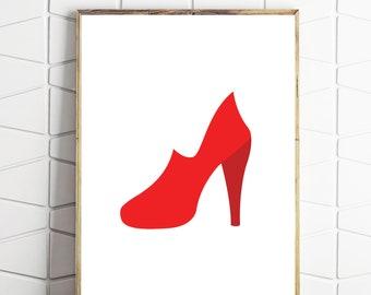 shoe lover art, shoe download, shoe art, shoe instant download, shoe printable, red shoes art