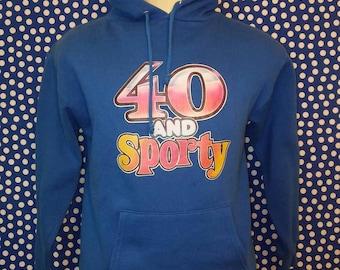 1980's 40 & Sporty hooded sweatshirt, small