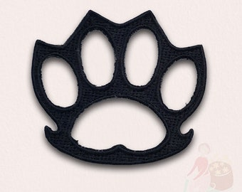 Knuckle Duster Weapon Rings Biker Applique Iron Sew On Embroidered patch - Black