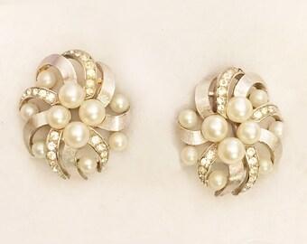 Trifari Clip Earrings Simulated Pearl Rhinestones & Silver Tone