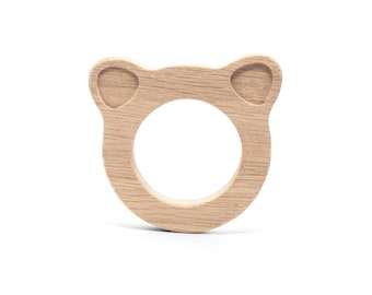 Wooden Teether - Bear -Teething Toy - Natural Teether - Wooden Toy - Organic Teether