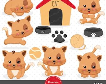 Cat clipart, Kitten clipart, Kitty clip art, Commercial use clipart, Kawaii clipart, Digital graphics - CA418