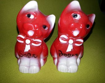 Vintage Red Cat Salt and Pepper Shakers