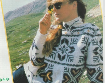 Ladies Beautiful Jumper With Scandinavian Motifs .Knitting Pattern .PDF File (D29)