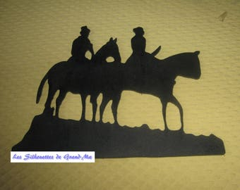 Couple of riders, wooden wall decoration