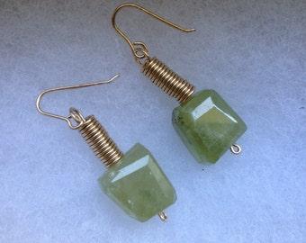 Ceres' Passion Green Garnet 14K Gold Filled Dangle Earrings