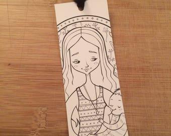 Breastfeeding coloring bookmark - black white page marker, motherhood illustration, pregnancy book lover, nursing mom, baby shower gift idea