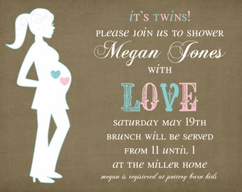 Twins Baby Shower Invitation -- It's Twins