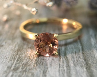 Salmon Pink Tourmaline Solitaire Engagement <Prong> Solid 14K Yellow Gold (14KY) Colored Stone Wedding Ring *Fine Jewelry* (Free Shipping)