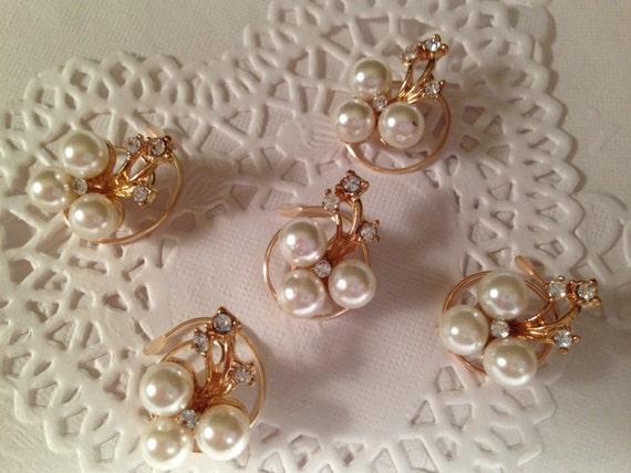 Bridal Hair Accessories-Rhinestones and Pearls Hair Swirls-Spins-Hair Spirals-Hair Twists-Spin Pins-Bridesmaids-Brides-Ballroom Dancers