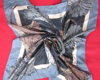 Japanese silk scarf with ginko leaf design--grey, brown, black