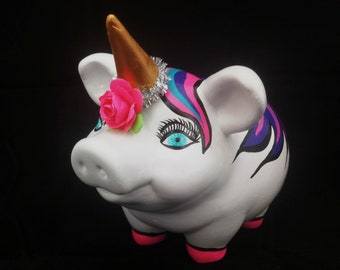 Unicorn Piggy Bank Nice Pink Personalized