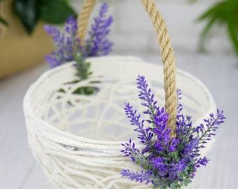 Lavender Flower Girl Basket, Greenery Wedding Basket, Floral Girl Basket, Rustic Flower Basket, Provence, Lace Basket, Rustic Flower Basket