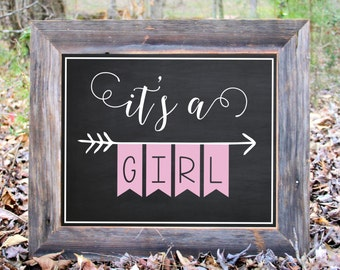 Chalkboard It's A Girl Baby Pink Gender Reveal Photo Prop Announcement She  Print Printable Maternity