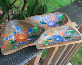 Vintage Mexican Wooden Tray with Flower Design