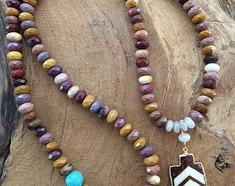 Mookaite Necklace | Turquoise Necklace | Pearl Chalcedony Necklace | Arrowhead Necklace | Bohemian Necklace