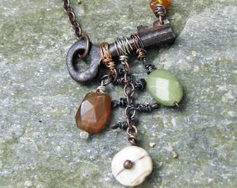 Rusted antique key and gemstone necklace