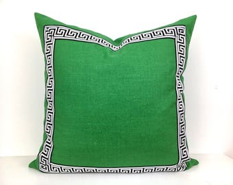 Green Pillow Cover with Black Greek Key Trim - Kelly Green Linen Pillow Cover