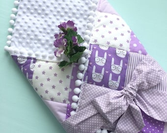Violet baby etsy ready to ship newborn blanket patchwork baby blanket baby envelope blanket blanket sleeping minky blanket baby blanket ultra violet negle Choice Image