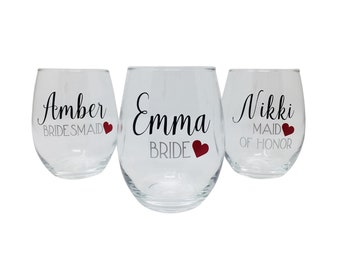 Personalized Stemless Wine Glasses, Bridesmaid Glasses, Bridal Party Glasses, Custom Name, Monogram, Bridal Party Gift, Glassware