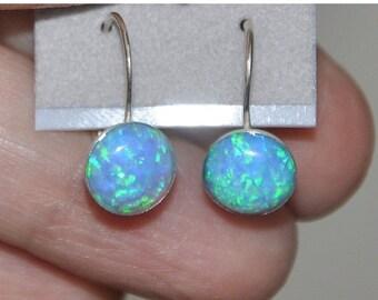 Blue Opal Earrings,  Sterling Silver,  Lever Back Earrings,  Opal Jewelry,  October Birthstone