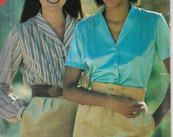 Vintage See & Sew 122 Size 12-14-16 Misses' Loose-Fitting Shawl Collar Front Buttoned Blouse Sewing Pattern Uncut