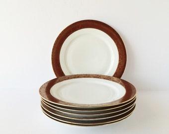 Antique Dinner Plates, Vintage Hutschenreuther Selb LHS Bavaria, Set of Seven, Gold Encrusted Brick-Red Band, Porcelain Dinner Plates