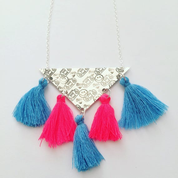 Sterling Silver Triangle Necklace - Boho - Folk Art - Festival - Gypsy - Tribal - Geometric - Boombox - Smilies - Statement