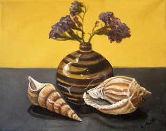 Shells and Stripes, 8x10 acrylic still life