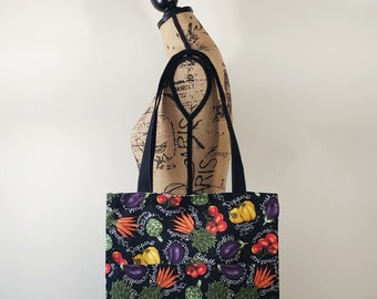 Black Tote Bag, Reversible Bag, Grocery Market Tote