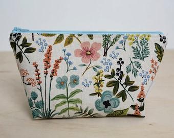 Rifle Paper Co. zipper pouch. Makeup bag. Small cosmetic case. Toiletry bag. Pencil case. Rifle paper co floral. Wet pouch. Floral pouch