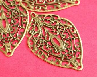 10pcs 56mm Antique Bronze Filigree Leaf Pendants