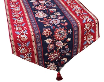 Red, White and Blue Table Runner, Red, White and Blue Floral Runner, Long Patriotic Table Runner, Patriotic Decor