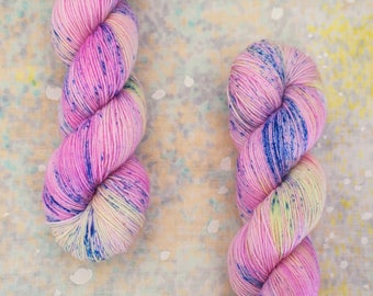 "Rad Sock - ""Pollinated Peony"" - cool pastel pink & neon yellow speckled yarn - fingering weight superwash merino wool"