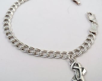 Children's Beautiful Sterling Silver Traditional Charm Bracelet with a Sterling Silver Ballet Slippers Charm - 1403
