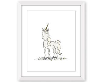 Unicorn Nursery Art -- A Wild Unicorn -- Nursery Art -- Kids Wall Art -- Children Art