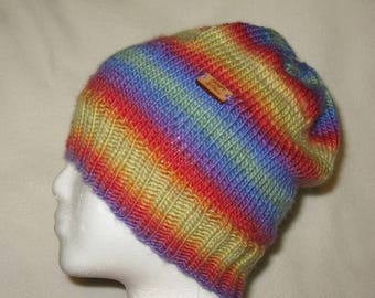 Wool Knit Hat - Rainbow Colors Striped Beanie