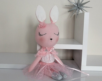 BUNNY FABRIC DOLL - Petite - Rose Pink - Simple and Chic Ballerina Theme - Heirloom Cloth Doll - Limited