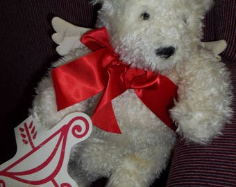 Vintage Cupid Bear Collectible Bears Valentine White Plush Bear Hallmark Bear Cupid Wing Bow Arrow Snow White Bear Card Attached Collectible