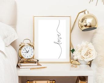 bedroom wall art, bedroom decor, love print, bedroom prints, typography print, scandinavian print, printable wall art, downloadable prints
