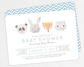 Woodlands Baby Shower Invitation, Pink Baby Shower, Boy Baby Shower, Printable Invitation, PDF Invitation, Animal, Watercolor, Fox, Panda