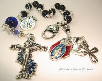 Catholic rosary,catholic chaplet,blue goldstone chaplet,one decade rosary,pocket rosary,faith,hope,charity,tree of life, free shipping